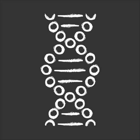 DNA spiral chalk icon. Connected dots, lines. Deoxyribonucleic, nucleic acid helix. Spiraling strands. Chromosome. Molecular biology. Genetic code. Genetics. Isolated vector chalkboard illustration Иллюстрация