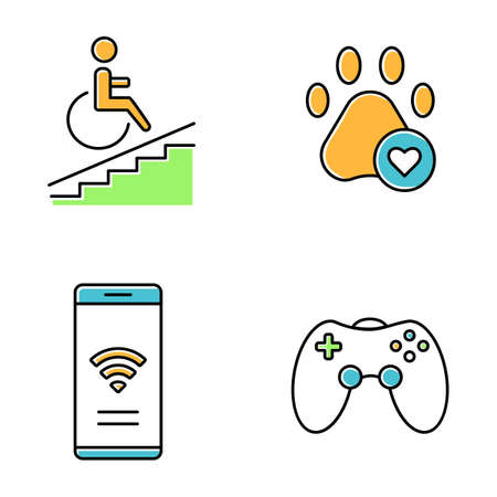 Apartment amenities color icons set. Wheelchair access, pets allowed, game room, free wifi. Property conveniences for millennial renters. Residential services. Isolated vector illustrations