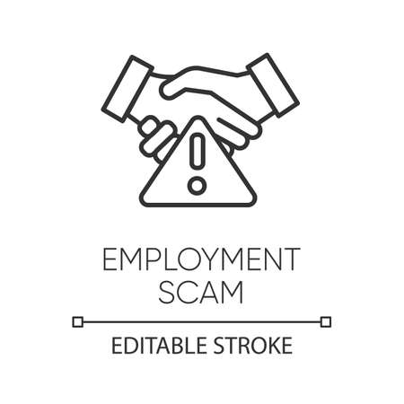 Employment scam linear icon. Fake recruitement offer. False job opportunity. Financial fraud. Thin line illustration. Contour symbol. Vector isolated outline drawing. Editable stroke Ilustrace