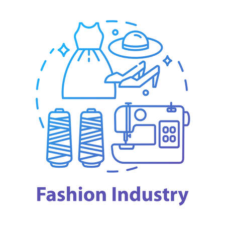 Fashion industry concept icon. Clothing business. Workshop for tailoring clothes and shoes. Sewing idea thin line illustration. Vector isolated outline drawing Ilustração