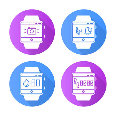 Fitness tracker functions flat design long shadow glyph icons set. Smartwatch wellness services. Water balance and step tracking, notifications, camera. Vector silhouette illustration