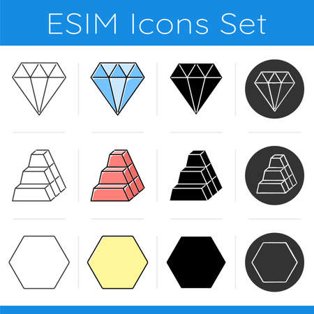 Geometric figures icons set. Diamond jewelry. Stock of dimensional blocks. Solid hexagon. Abstract shapes. Isometric forms. Flat design, linear, black and color styles. Isolated vector illustrations Иллюстрация