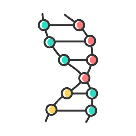 DNA helix color icon. Z-DNA. Connected dots, lines. Deoxyribonucleic, nucleic acid structure. Spiral strands. Chromosome. Molecular biology. Genetic code. Genetics. Isolated vector illustration Иллюстрация
