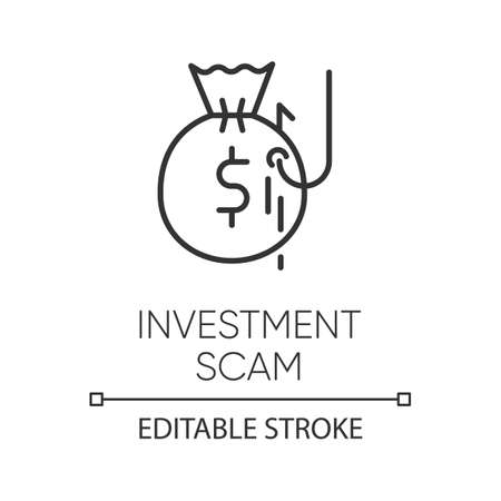Investment scam linear icon. Ponzi, pyramid scheme. Financial fraud. Illegal money gain. Phishing. Thin line illustration. Contour symbol. Vector isolated outline drawing. Editable stroke