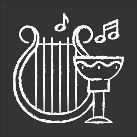 Ancient culture and life chalk icon. Harp melody. Goblet for wine. Greek old artifacts. Historical items. Archeological discoveries. Music instrument. Isolated vector chalkboard illustration