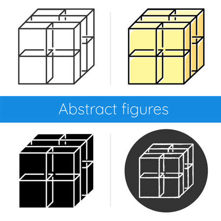 Cube icon. Geometric gridded figure. Graphic abstract shape. Transparent blocks and clear boxes. Polygonal element. Isometric form. Flat design, linear and color styles. Isolated vector illustrations Vectores