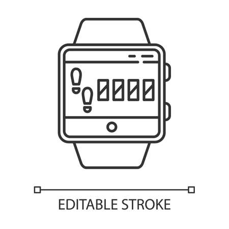 Steps tracking smartwatch function linear icon. Sport training, walking distance, leg based cardio exercise.Thin line illustration. Contour symbol. Vector isolated outline drawing. Editable stroke 向量圖像