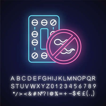 Oral contraceptive neon light icon. Pharmaceutical product to prevent pregnancy. Birth control pills. Safe sex. Glowing sign with alphabet, numbers and symbols. Vector isolated illustration Imagens - 134834852