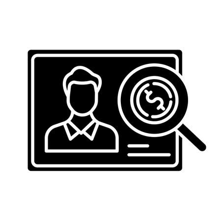 Verifying creditworthiness glyph icon. Examining personal credit history. Financial report. Economy business. Investment, budget graph. Silhouette symbol. Negative space. Vector isolated illustration Vectores