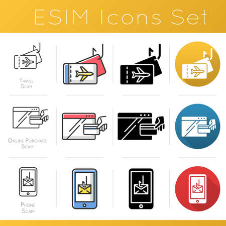 Scam types icons set. Online purchase fraudulent scheme. Travel fraud. Phone, smishing trick. Cybercrime. Financial scamming. Flat design, linear, black and color styles. Isolated vector illustrations