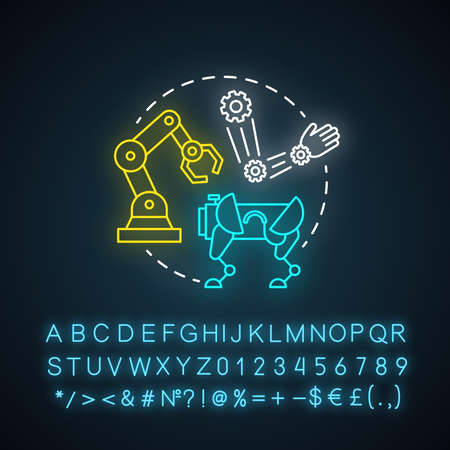 Dynamics and control neon light concept icon. Robotics motion system idea. Information technologies and innovative programming. Glowing sign with alphabet, numbers. Vector isolated illustration Imagens - 134834866