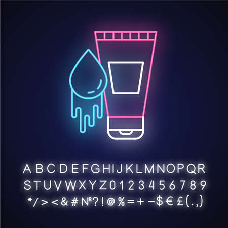 Water-based lubricant neon light icon. Product for safe sex. Natural lube, male gel. Healthy intimate intercourse. Glowing sign with alphabet, numbers and symbols. Vector isolated illustration