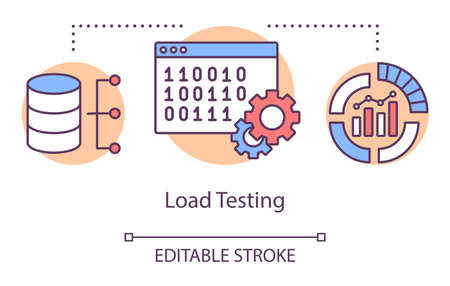 Load testing concept icon. Examine computer program behaviour idea thin line illustration. Software testing process. Indicating issues and problems. Vector isolated outline drawing. Editable stroke