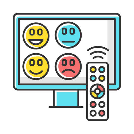 TV channel rating survey color icon. Emotional opinion. Consumer review. Social research. Customer satisfaction. Feedback. Evaluation. Data collection. Isolated vector illustration