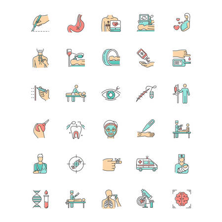 Medical procedure color icons set. Surgery. Endoscopy. Health care. Brain scan. First emergency aid. Blood test. Injury treatment. Vision correction. Pediatrics. Isolated vector illustrations