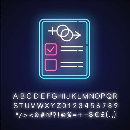 Sex test neon light icon. Examination page. Male, female psychometrical report. Gender verification. Safe sex. Glowing sign with alphabet, numbers and symbols. Vector isolated illustration