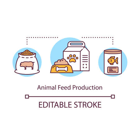 Animal feed production concept icon. Local products idea thin line illustration. Food for dogs, cats. Small bussiness creates nutrition. Vector isolated outline drawing. Editable stroke