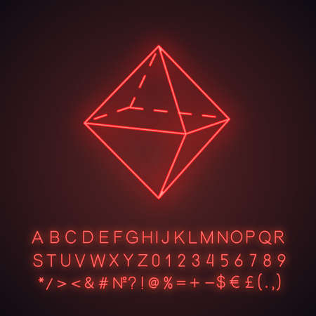Octahedron neon light icon. Double pyramid. Geometric figure. Square based prism. Abstract shape. Isometric form. Glowing sign with alphabet, numbers and symbols. Vector isolated illustration Imagens - 134834889