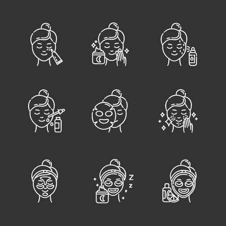 Skin care procedures chalk icons set. Night time beauty routine. Applying undereye cream. Sheet cotton mask. Spot treatment. Hydrogel patches. Vitamin C serum. Isolated vector chalkboard illustrations Standard-Bild - 134811575