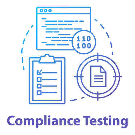 Compliance testing concept icon. Software development stage idea thin line illustration. Conformance testing. Application programming. System check. Vector isolated outline drawing Illusztráció