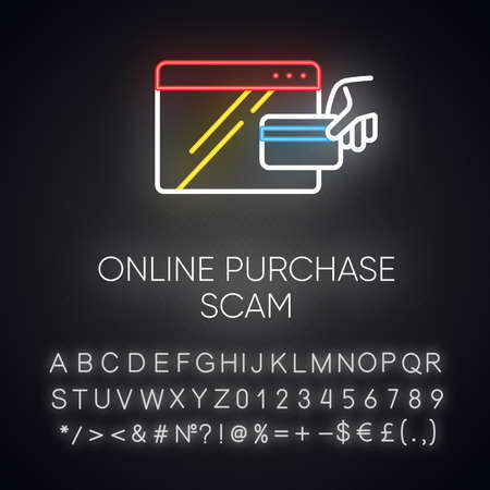 Online purchase scam neon light icon. Internet shopping, consumer fraud. Fake retailer website. Cybercrime. Phishing. Glowing sign with alphabet, numbers and symbols. Vector isolated illustration Ilustração
