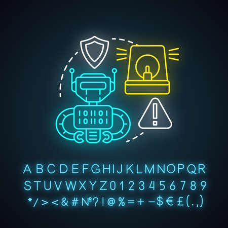 Security robotics neon light concept icon. Safety technology idea. Types of robots, classification. Computer machine guarding, protecting. Glowing sign with alphabet. Vector isolated illustration
