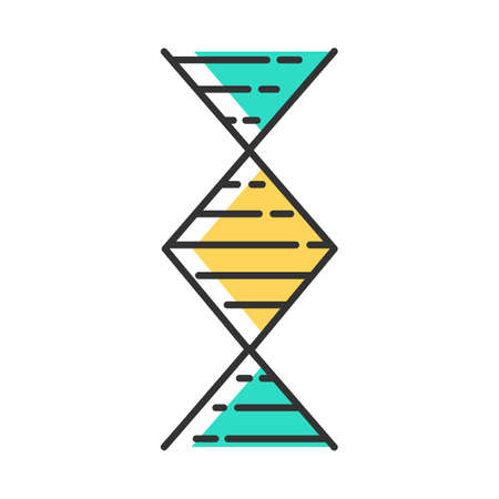 Diamond-shaped DNA helix color icon. Deoxyribonucleic, nucleic acid structure. Spiraling strands. Chromosome. Molecular biology. Genetic code. Genome. Genetics. Isolated vector illustration