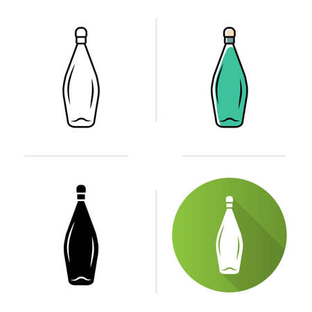 Winery service icons set. Wine bottle with cork. Bar, restaurant tableware, glassware. Aperitif, alcohol drink. Flat design, linear, black and color styles. Isolated vector illustrations