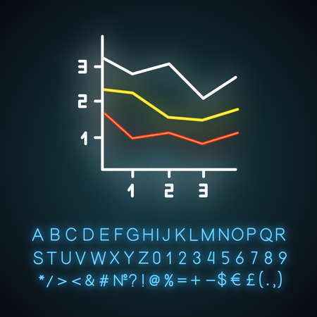 Area chart neon light icon. Increasing graph with segments. Marketing presentation. Business report visualization. Glowing sign with alphabet, numbers and symbols. Vector isolated illustration
