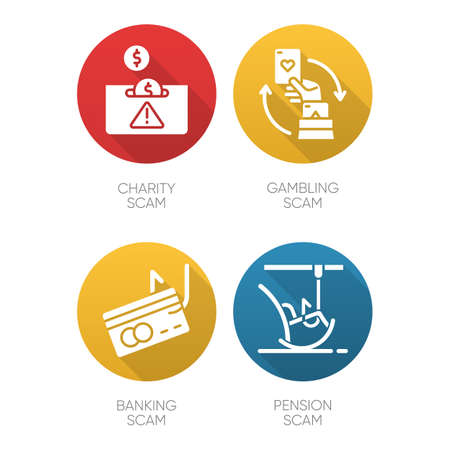 Scam types flat design long shadow glyph icons set. Charity, pension fraudulent scheme. Gambling, banking trick. Cybercrime. Financial scamming. Illegal money gain. Vector silhouette illustration Ilustrace