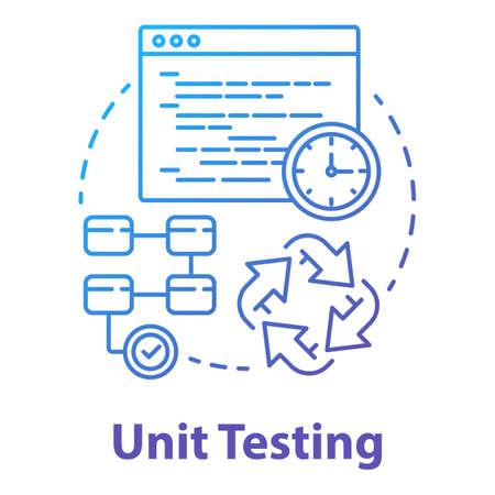 Unit-Test-Konzept-Symbol. Dünne Linienillustration der Idee der Softwareentwicklungsphase. Überprüfung der Anwendungsleistung. Java-Quellcode. IT-Projekt. Vektor isolierte Umrisszeichnung