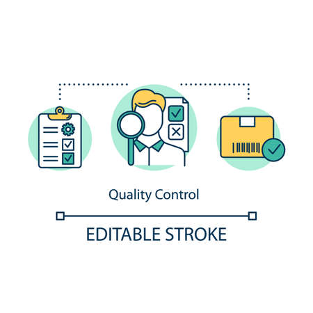 Quality control concept icon. Local production idea thin line illustration. Examination of products. Verification of quality level. Vector isolated outline drawing. Editable stroke
