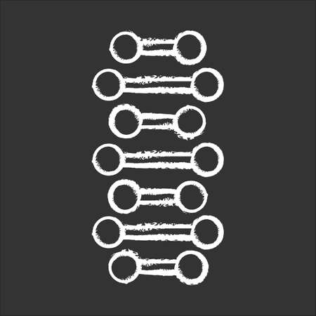 DNA spiral chains chalk icon. Connected dots, lines. Deoxyribonucleic, nucleic acid helix. Spiral strand. Chromosome. Molecular biology. Genetic code. Genetics. Isolated vector chalkboard illustration Standard-Bild - 134810838