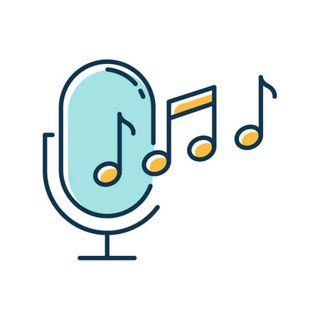 Blue ringtone recognition color icon. Melody definition app idea. Sound recorded. Microphone and notes, music equipment. Voice command. Professional mike. Isolated vector illustration