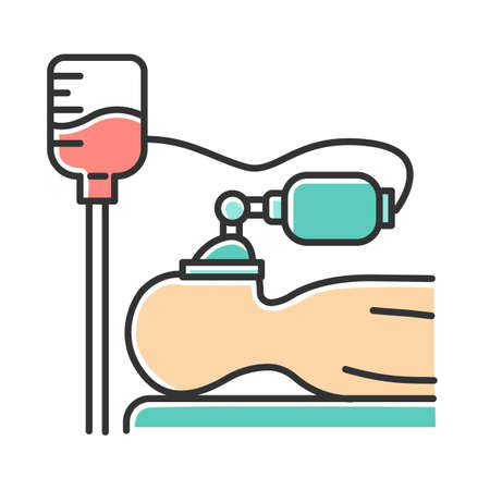 Anesthesia color icon. Medical procedure. Apnea stage. Liquid induction. Patient unconscious on bed. Dropper. Professional clinical help. Disease treatment, illness aid. Isolated vector illustration Illustration