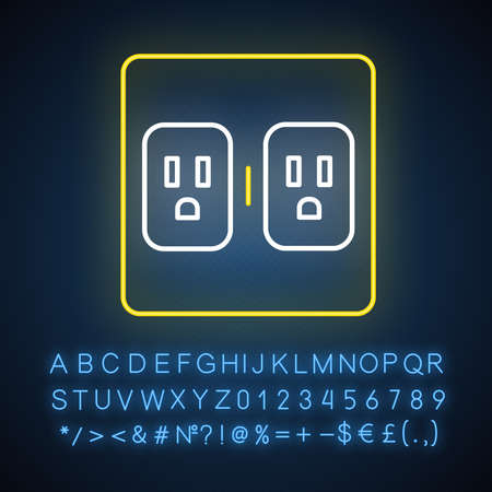 Charging outlets neon light icon. Two wall sokets. Electrical connectors. Power points. Electrified room. Glowing sign with alphabet, numbers and symbols. Vector isolated illustration