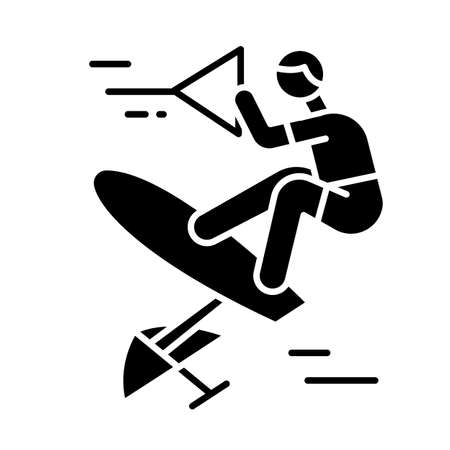 Wakeboarding glyph icon. Sling shot. Extreme water sport leisure. Rider standing on wakeboard. Adrenaline recreation. Outdoor activity. Silhouette symbol. Negative space. Vector isolated illustration