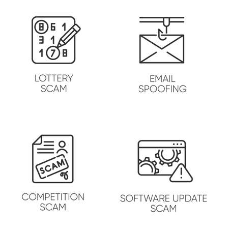Scam types linear icons set. Lottery, competition scheme. Email spoofing. Software update trick. Illegal money gain. Thin line contour symbols. Isolated vector outline illustrations. Editable stroke
