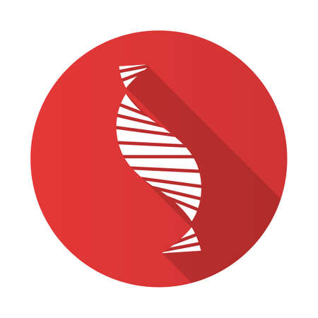 DNA spiral strand red flat design long shadow glyph icon. Deoxyribonucleic, nucleic acid helix stripes. Chromosome. Molecular biology. Genetic code. Genome. Genetics. Vector silhouette illustration