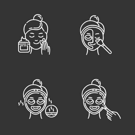 Skin care procedures chalk icons set. Applying exfoliating cream. Using thermal mask to open up pores. Liquid mask for facial treatment. Female beauty routine. Isolated vector chalkboard illustrations Standard-Bild - 134811182