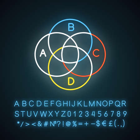 Venn diagram neon light icon. Round chart. Overlapping circles. Intertwined graph. Marketing, business. Glowing sign with alphabet, numbers and symbols. Vector isolated illustration Ilustração