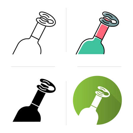 Bottle and foil cutter icons set. Alcohol beverage. Aperitif drink. Sommelier, barman device. Removal tool, kitchen utensil. Flat design, linear, black and color styles. Isolated vector illustrations Ilustração