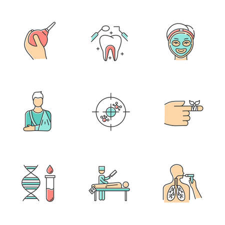 Medical procedures color icons set. Constipation aid. Healthcare. Orthopedic cast. Immunotherapy. Dental care. Cosmetology. Bandaging. Genetics. Autopsy. Bronchoscopy. Isolated vector illustrations