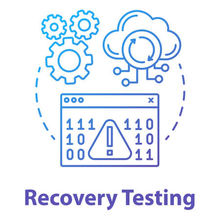 Recovery testing concept icon. Software development managment idea thin line illustration. Crash test. Program workflow, app perfomance. IT project. Vector isolated outline drawing