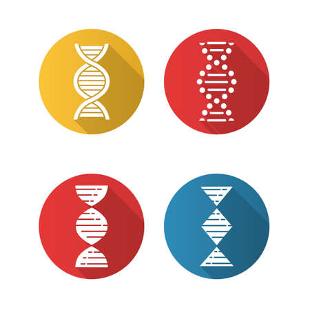 DNA spiral strands flat design long shadow glyph icons set. Deoxyribonucleic, nucleic acid helix. Spiraling strands. Chromosome. Molecular biology. Genetic code. Vector silhouette illustration