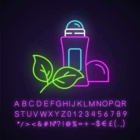 Natural roll-on deodorant neon light icon. Hypoallergenic antiperspirant. Hygiene. Alluminium-free. Organic cosmetics. Glowing sign with alphabet, numbers and symbols. Vector isolated illustration