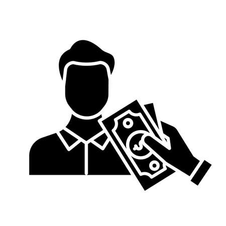 Borrowing cash glyph icon. Lending money. Pay for credit, loan. Man taking dollar banknotes. Managing finances and budget account. Silhouette symbol. Negative space. Vector isolated illustration