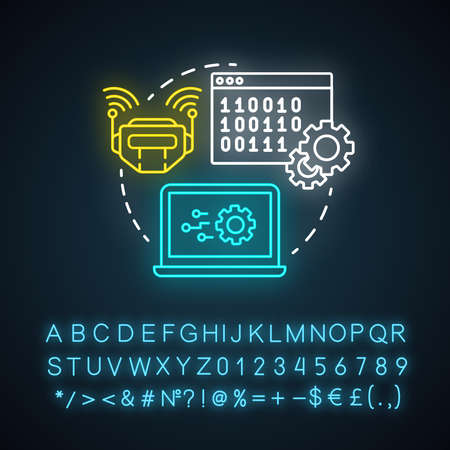 Robot control neon light concept icon. Robotics system idea. Software and binary code. Information technology, programming. Glowing sign with alphabet, numbers, symbols. Vector isolated illustration Imagens - 134835424