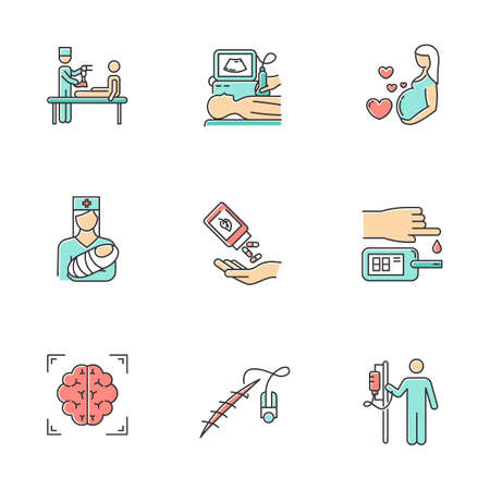 Medical procedures color icons set. Leg prosthetics. Ultrasound diagnostic. Pregnancy care and pediatrics. Homeopathy. Blood test. Brain scan. Stitching. Dropper. Isolated vector illustrations Illustration