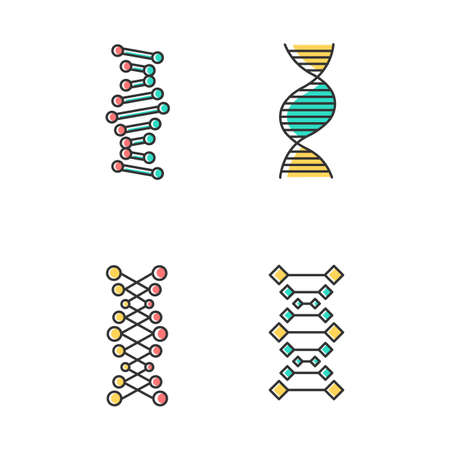 DNA chains color icons set. Deoxyribonucleic, nucleic acid helix. Spiraling strands. Chromosome. Molecular biology. Genetic code. Genome. Genetics. Medicine. Isolated vector illustrations Иллюстрация